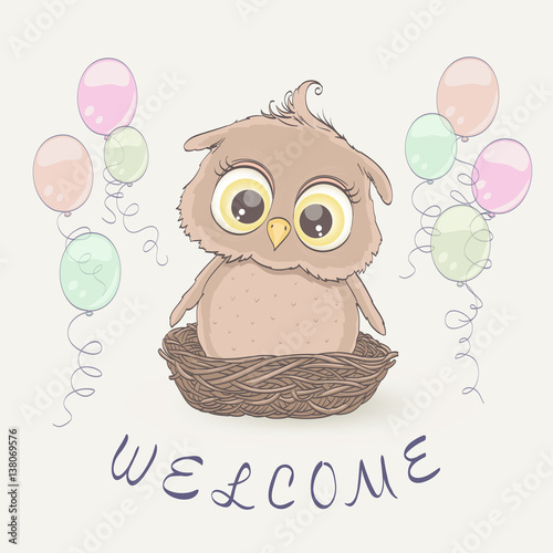 Little owl in the nest and flying balloons congratulation greeting little owl in the nest and flying balloons congratulation greeting on baby arrival newborn stopboris Choice Image
