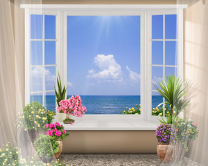 FototapetaWindow with color flowers, summer sea view with clouds, digital fresco
