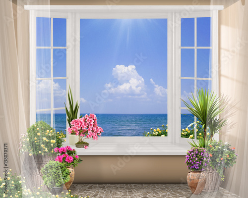 Window with color flowers, summer sea view with clouds, digital fresco