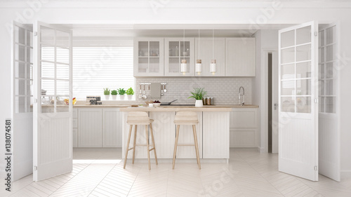 Fotografia  Scandinavian classic kitchen with wooden and white details, minimalistic interio