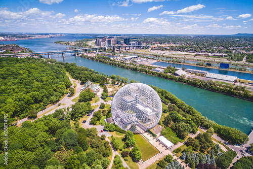 Poster Canada Aerial view of Montreal Biosphere and Saint Lawrence river in Montreal, Quebec, Canada.