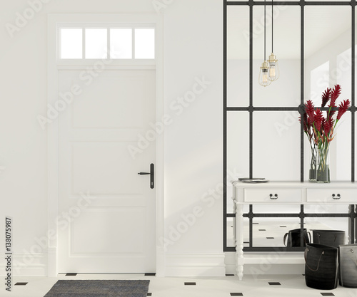 Interior of white entrance hall Wallpaper Mural
