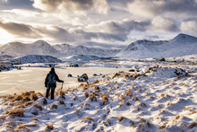 UK, Scotland, Rannoch Moor, Loch Ba And Black Mount Mountain Range, Female Walker