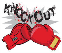 "Boxing Gloves And Text ""Knock Out"". Boxing Emblem Label Badge T-Shirt Design Boxing Fight Theme. Boxing Gloves For Man. Boxing Gloves Drawing."