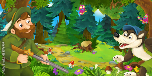 cartoon scene with hunter hunting wolf in the forest