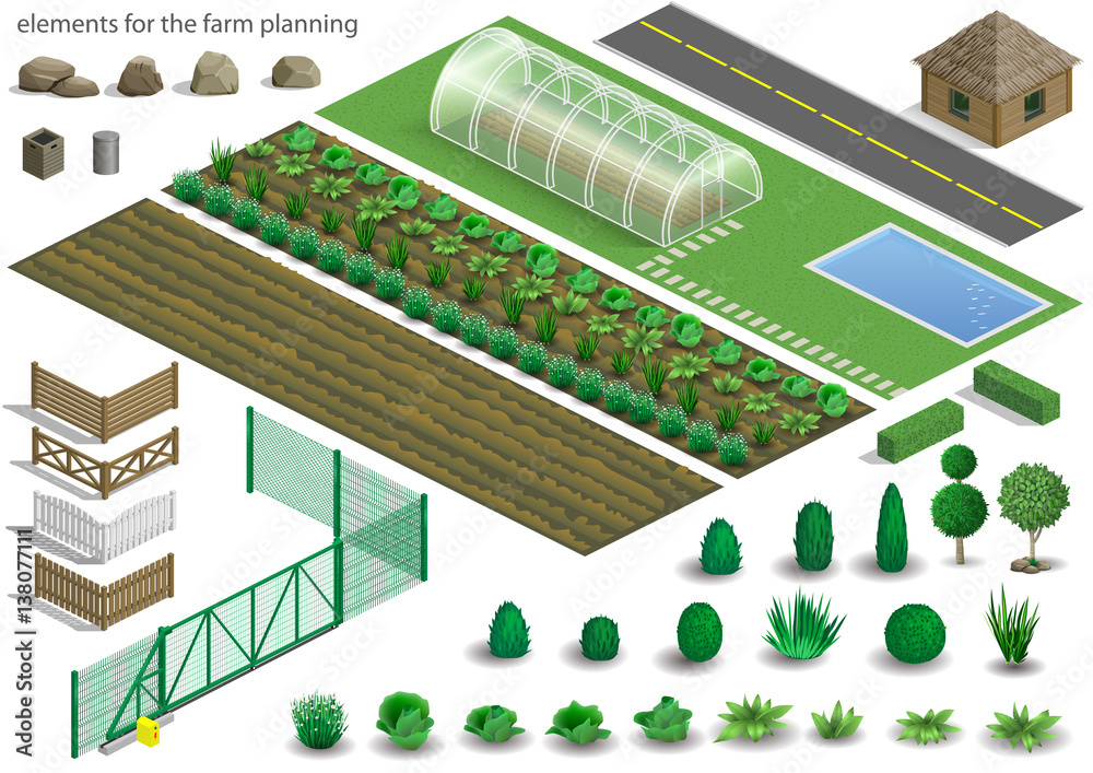 Fototapeta Set of elements for a project or scheme farm. Buildings, fences and garden with plants, vegetables. Vector graphics. Architectural isometrics