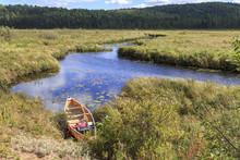 Canoe On Madawaska River Shoreline In Algonquin Provincial Park, Ontario, Canada