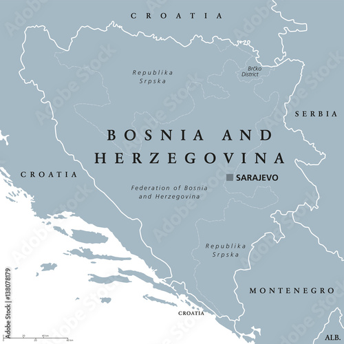 Canvas Print Bosnia and Herzegovina political map with capital Sarajevo