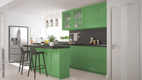 Fototapeta Scandinavian classic kitchen with wooden and green details, minimalistic interior design obraz na płótnie