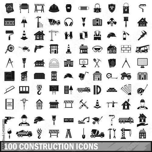 Obraz 100 construction icons set in simple style - fototapety do salonu
