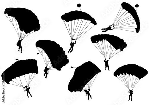 Man on parachute sports on a white background Canvas Print