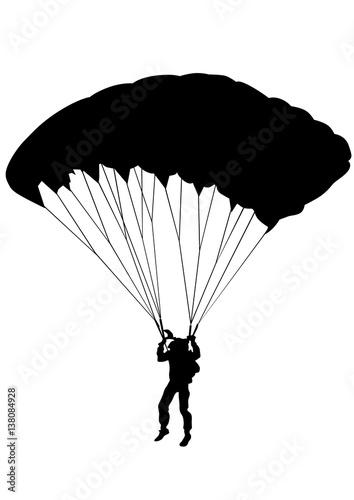 Photo Man on parachute sports on a white background