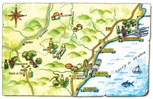 Geographic Map Of The Local Gastronomy Of Liguria Region
