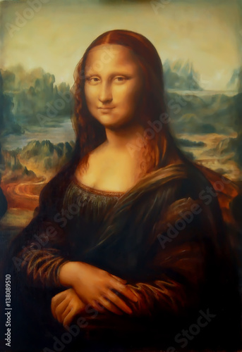 Canvastavla Reproduction of painting Mona Lisa by Leonardo da Vinci and light graphic effect