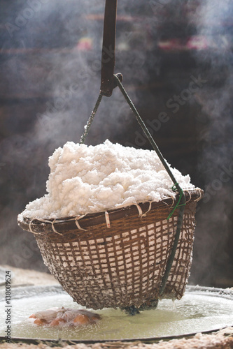 Fotografie, Obraz  Boiling rock salt traditional salt making of Nan province,Thailand