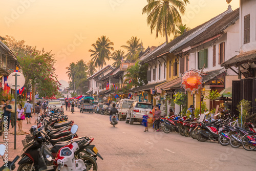 Street in old town Luang Prabang Canvas Print