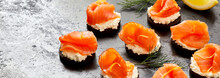 Panorama Banner Of Fresh Smoked Salmon Canapes