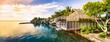 canvas print picture - Sonnenuntergang auf einer einsamen Insel im Pazifik