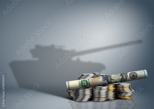 Fotografia, Obraz  military budget concept, money with weapon shadow