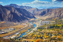 Aerial Picture Of Glenwood Springs Valley In Autumn, Colorado, USA.