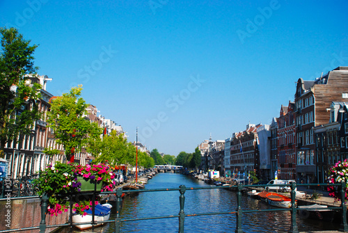 Beautiful canals of Amsterdam, The Netherlands Canvas Print