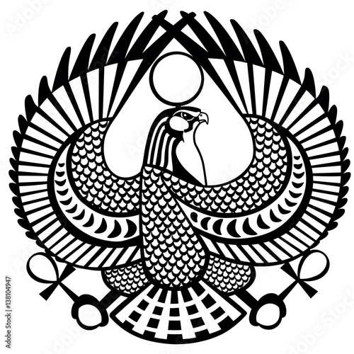 Falcon Ancient Egyptian Symbol Of God Horus And White Vector