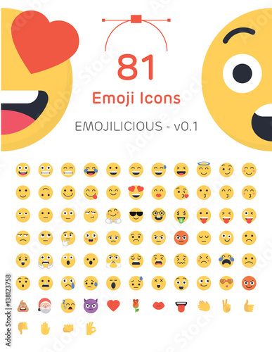 81 Friendly Vector Emoticons - Emojilicious v0.1 Poster