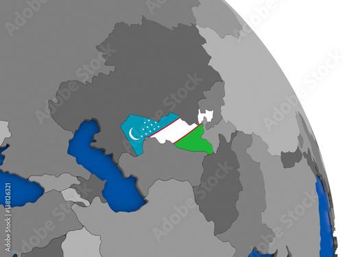 Uzbekistan and its flag on globe