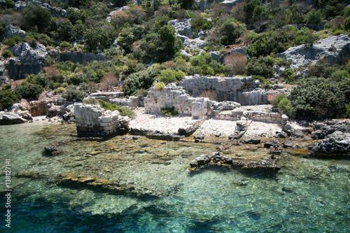 Photo Stands South America Country sunken city of Kekova in bay of Uchagiz view from sea