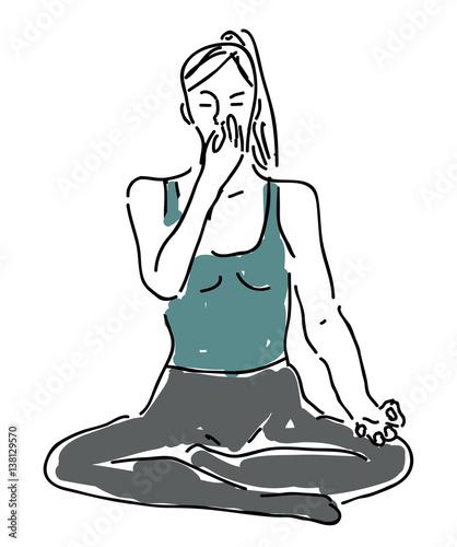 Fototapeta Yoga breathing - pranayama, nadi shodhana
