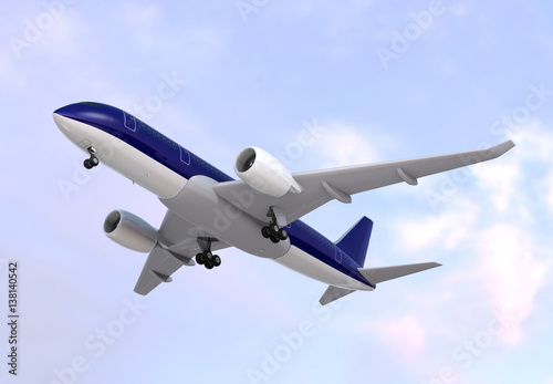 Tuinposter Vliegtuig Passenger airplane flying in the sky. 3D rendering image.