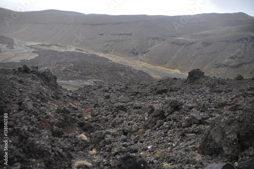 Photo  Mordor below Mount Doom (Mount Ngaunuhoe) Walkway at Tongariro Alpine Crossing,