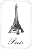 Fototapeta Fototapety Paryż - Wieża Eiffla - retro ilustracja