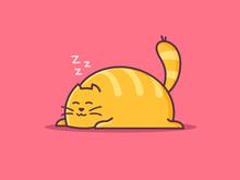 Happy Fat Orange Cat Sleeping ...