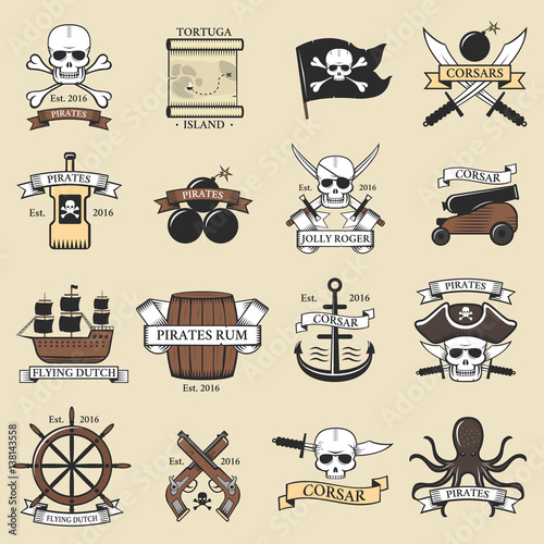 Modern professional pirate logo marine badges nautical sword old ...