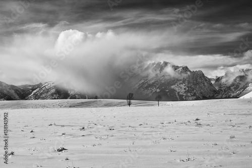 Photo  Winter storm clouds on the Teton range
