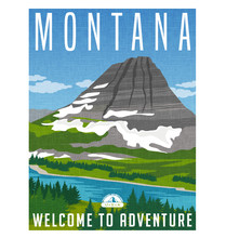 Montana Travel Poster. Vector Illustration Of Snowy Mountain, River And Forest.