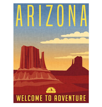 Arizona Travel Poster. Detailed Vector Illustration Of Scenic Desert Landscape With Buttes.