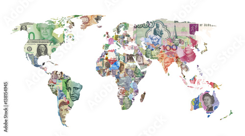 world currency map Wallpaper Mural