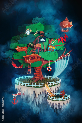Pirate treehouse on a floating island made from paper Canvas Print
