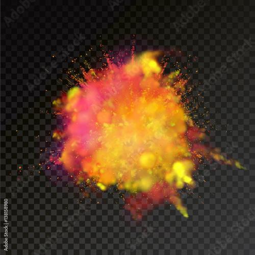 Fotografie, Obraz  Paint powder color explosion on transparent background