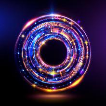 Orb Neon Rays. Luminous Hole. ...