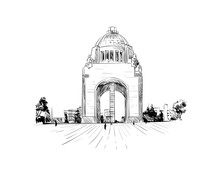 Mexico. Revolution Monument. Hand Drawn Vector Illustration.
