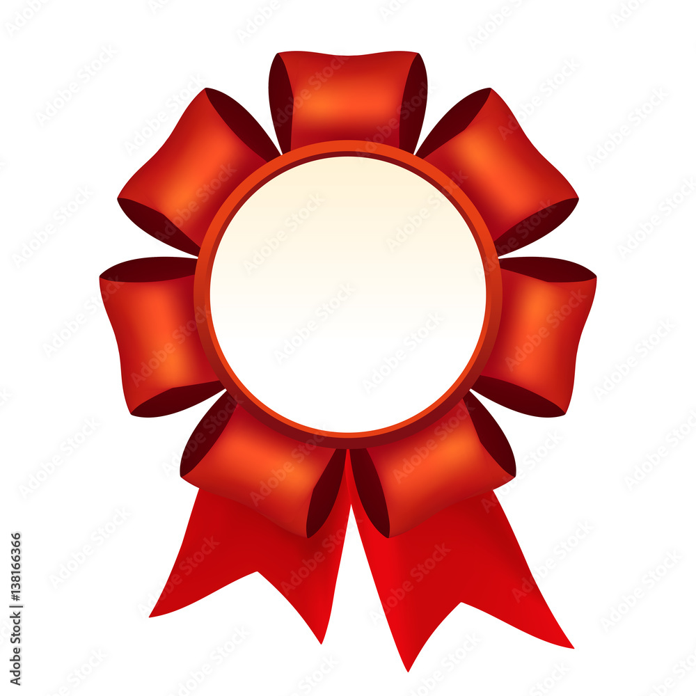 Photo Art Print Vector Beautiful Red Silk Rosette With Ribbons Winner Medal Template Europosters