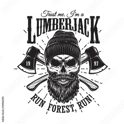 vintage-hipster-lumberjack-emblem-with-crossed-axes-behind-the-skull-in-beanie-with-beard-and-moustache-sunburst-on-background-monochrome-isolated-on-white-background