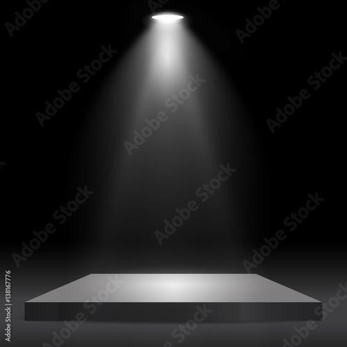 Obraz Square podium, pedestal or platform illuminated by spotlights on black background. Stage with scenic lights. Vector illustration. - fototapety do salonu