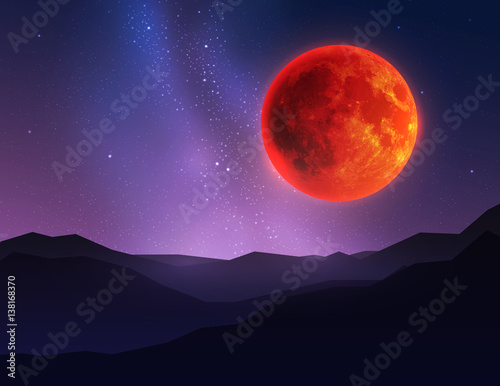 Fototapety, obrazy: Big red moon in night sky over mountain. Vector illustration.