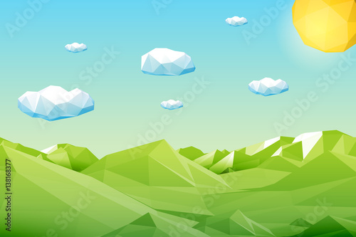 Deurstickers Pool Abstract polygonal green landscape with mountains, hills, clouds and sun. Modern geometric vector illustration.