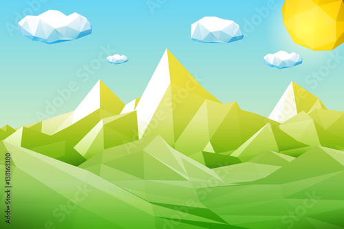 In de dag Pool Abstract polygonal green landscape with mountains, hills, clouds and sun. Modern geometric vector illustration.