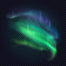 Realistic Northern Lights. Vector Aurora Borealis On Transparent Background. Beautiful Natural Effect For Design Projects.